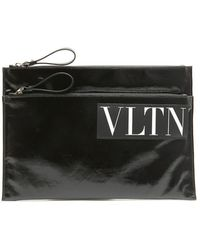Valentino Valentino Garavani Vltn Logo Clutch Bag - Black