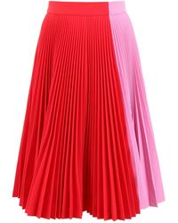 CALVIN KLEIN 205W39NYC Pleated Midi Skirt - Red