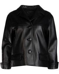 Prada Boxy Leather Jacket - Black