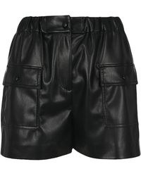 MSGM High-waisted Faux-leather Shorts - Black