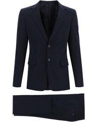 Prada Bi-stretch Canvas Suit 48 Wool - Blue