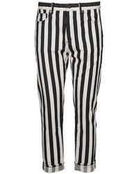 Saint Laurent Striped Straight Fit Jeans - Multicolour