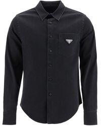 Prada Logo Plaque Denim Shirt - Black