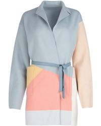 Loro Piana Belted Colour Block Wrap Coat - Blue