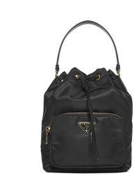 Prada Duet Bucket Bag - Black