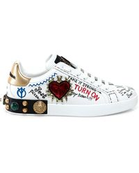 Dolce & Gabbana Printed Calfskin Nappa Portofino Sneakers With Patch And Embroidery - White
