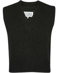 Maison Margiela V-neck Pullover Vest - Black