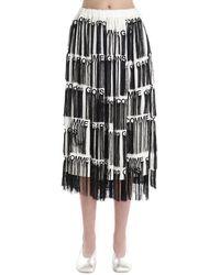 Comme des Garçons Fringed Logo-print Skirt - White