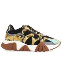 Versace - Men's Squalo Mesh & Baroque-print Leather Sneakers - Lyst