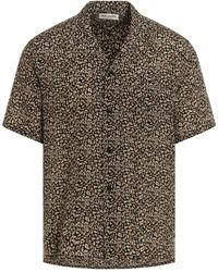 Saint Laurent Shark-collar Leopard Print Shirt - Brown