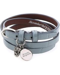 Alexander McQueen Skull Pendant Wrap Bracelet - Blue