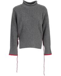 Eudon Choi Contrast Stitch Cable-knit Sweater - Gray
