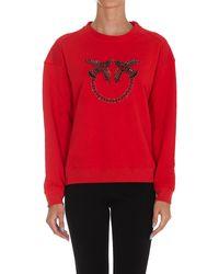 Pinko Nelly Bead Embellished Crewneck Sweatshirt - Red