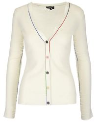 Theory Contrast Trim Cardigan - White