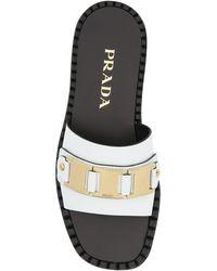 Prada Leather Metal Detail Sandals - White