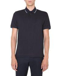 Z Zegna Stripe Detail Polo Shirt - Blue