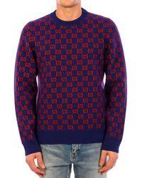Gucci GG Monogram Pattern Sweater - Purple