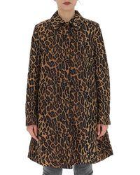 Miu Miu Leopard Print Straight Hem Coat - Brown