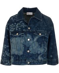 RED Valentino Redvalentino Asian Toile De Jouy Printed Denim Jacket - Blue