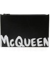 Alexander McQueen Graffiti Flat Zip Leather Pouch - Black