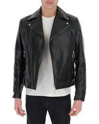 Off-White c/o Virgil Abloh Logo Print Leather Biker Jacket - Black