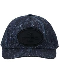 Etro Logo Patched Paisley Printed Cap - Blue