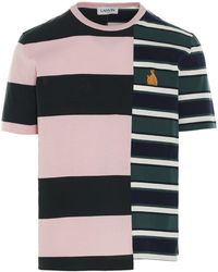 Lanvin Logo Striped Patchwork T-shirt - Multicolour