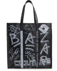 Balenciaga Bazar Graffiti M Shopper Tote Bag - Black
