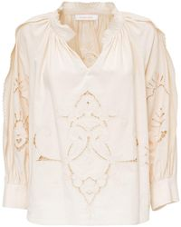 See By Chloé Embroidered Scalloped Trim Blouse - Natural