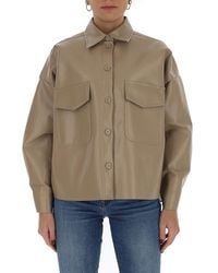MM6 by Maison Martin Margiela Faux-leather Overshirt - Natural