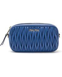 Miu Miu Matelassé Belt Bag - Blue