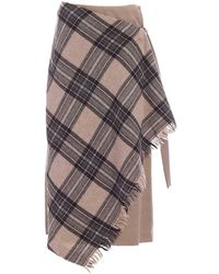 Weekend by Maxmara Checked Wrap-front Skirt - Multicolour
