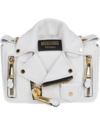 Moschino Biker Jacket Shoulder Bag - White