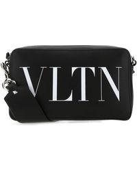 Valentino Vltn Print Crossbody Bag - Black