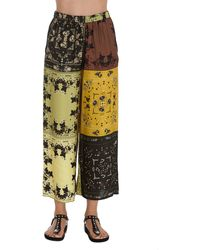 Pinko Patchwork Printed Wide-leg Cropped Pants - Multicolour