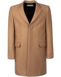 Saint Laurent Classic Single Breasted Coat - Natural