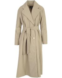 Emporio Armani Belted Waist Mid-length Coat - Natural