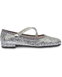 Miu Miu Glitter Round-toe Ballerina Shoes - Metallic