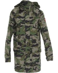 Canada Goose Crew Camouflage Hooded Trench Coat - Green