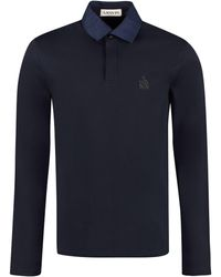 Lanvin Logo Embroidered Rugby Shirt - Blue