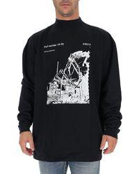 Off-White c/o Virgil Abloh Industrial Printed Turtleneck Sweater - Black