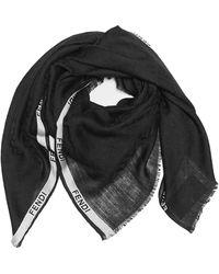 Fendi Ff Motif Scarf - Black