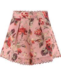 "Zimmermann ""cassia"" Floral Shorts - Pink"