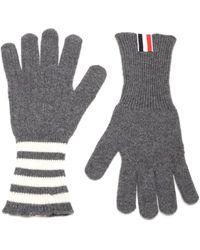Thom Browne 4-bar Striped Gloves - Gray