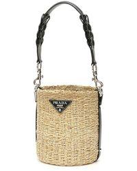 Prada Leather-trimmed Raffia Bucket Bag - Natural