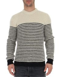 Saint Laurent Striped Knitted Pullover - Gray