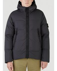 Stone Island Logo Patched Hooded Puffer Jacket - Black