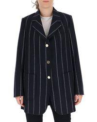 Thom Browne Pinstripe Oversized Blazer - Blue