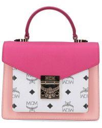 MCM Monogram Top Handle Bag - Pink