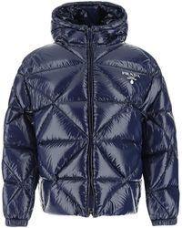 Prada Nylon Down Jacket 42 - Blue